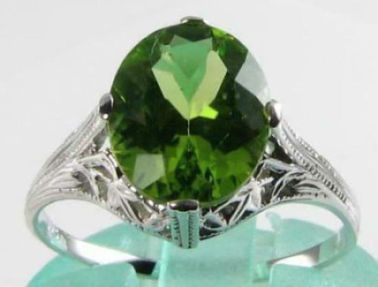 LARGE 9CT WHITE gold PERIDOT 10mm x 8mm SOLITAIRE ART DECO INS RING FREE RESIZE
