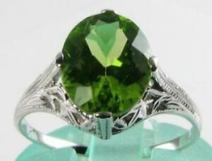 LARGE-9CT-WHITE-GOLD-PERIDOT-10mm-x-8mm-SOLITAIRE-ART-DECO-INS-RING-FREE-RESIZE