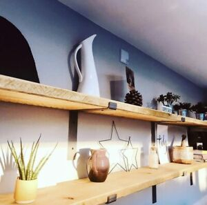 Rustic Wooden Shelves with Industrial Style Brackets