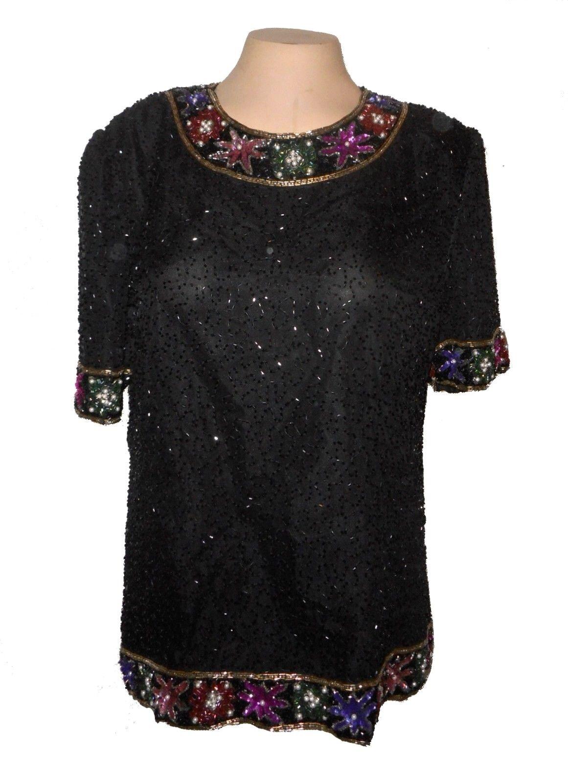 Top, Laurence Kazar, Evening 100%-Silk Beads Sequins schwarz  XL