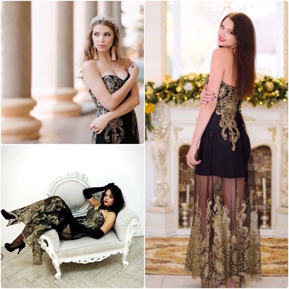 Abito Lungo ricamato Elegante Fascia Festa Festa Festa Ballo Cerimonia Party Evening Dress S 196746