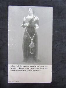 Antique-1914-Nellie-Melba-Victor-Advertising-Postcard-Bratton-039-s-Music-Store