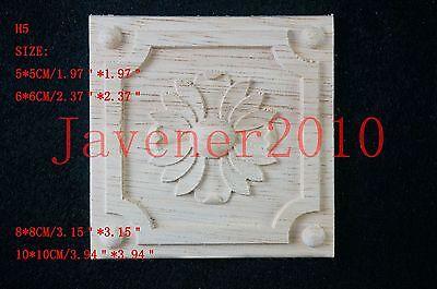 H5 Wood Carved Square Onlay Applique Unpainted Frame Furniture Door 5*5 10*10cm