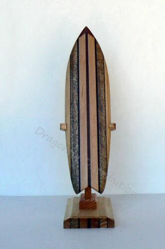 Surf Decor Mahogany Wood Striped Miniature Surfboard V shape Tail and Stand