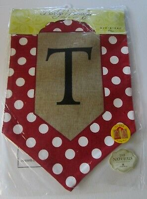 Burlap Initial Flags large by Evergreen