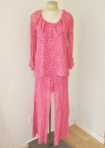 Vtg 60s pink 2-pc babydoll top bell bottom lace p… - image 1