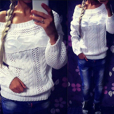 UK Womens Off-shoulder Long Sleeve Knitted Sweater Knitwear Jumper Tops Pullover