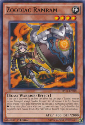 RATE-EN018 Common 1st Edition RATE 3x Zoodiac Ramram Raging Tempest YuGi