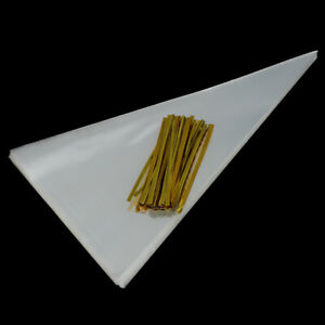 100X-clear-cone-shape-cellophane-bags-candy-sugar-popcorn-flower-packing-bag