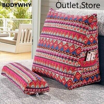 Cotton Linen Triangular Backrest Sofa Cushions Bed Rest Pillow Back Large Size Ebay