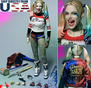 1-6-Suicide-Squad-Harley-Quinn-Head-Sculpt-Kleidung-Hammer-Set-USA-Verkaeufer