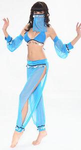 Image is loading Sexy-Blue-Belly-Dancer-Arabian-Princess-Jasmine-Halloween- & Sexy Blue Belly Dancer Arabian Princess Jasmine Halloween Costume 6 ...