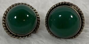Vintage Deep Green Glass Sterling Dome Button Screw Back Clip Stud Earrings