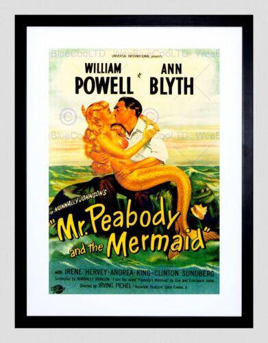 VINTAGE MOVIE FILM MR PEABODY MERMAID POWELL BLYTH FRAMED ART PRINT B12X11683