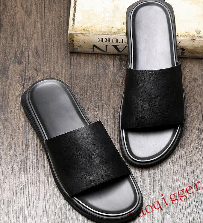 2019 Punk Gladiator Mens Summer Roma Leather Flat Black Sandals Buckles shoes Sz