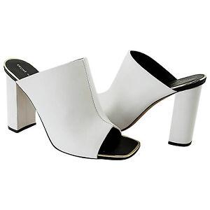 CELINE-Shoe-White-Leather-Mule-Gold-Edge-Trim-39-9-w-box