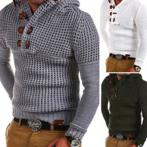 Mens-Knitted-Casual-Jumper-Sweater-Hooded-Pullover-Horn-Button-Tops-Cardigan