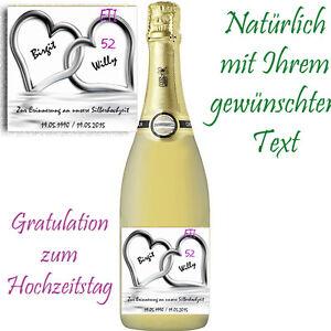 *1 x Flaschenaufkle<wbr/>ber zur Silberhochzeit *GLÄNZEND! 25.Hochzeitsta<wbr/>g