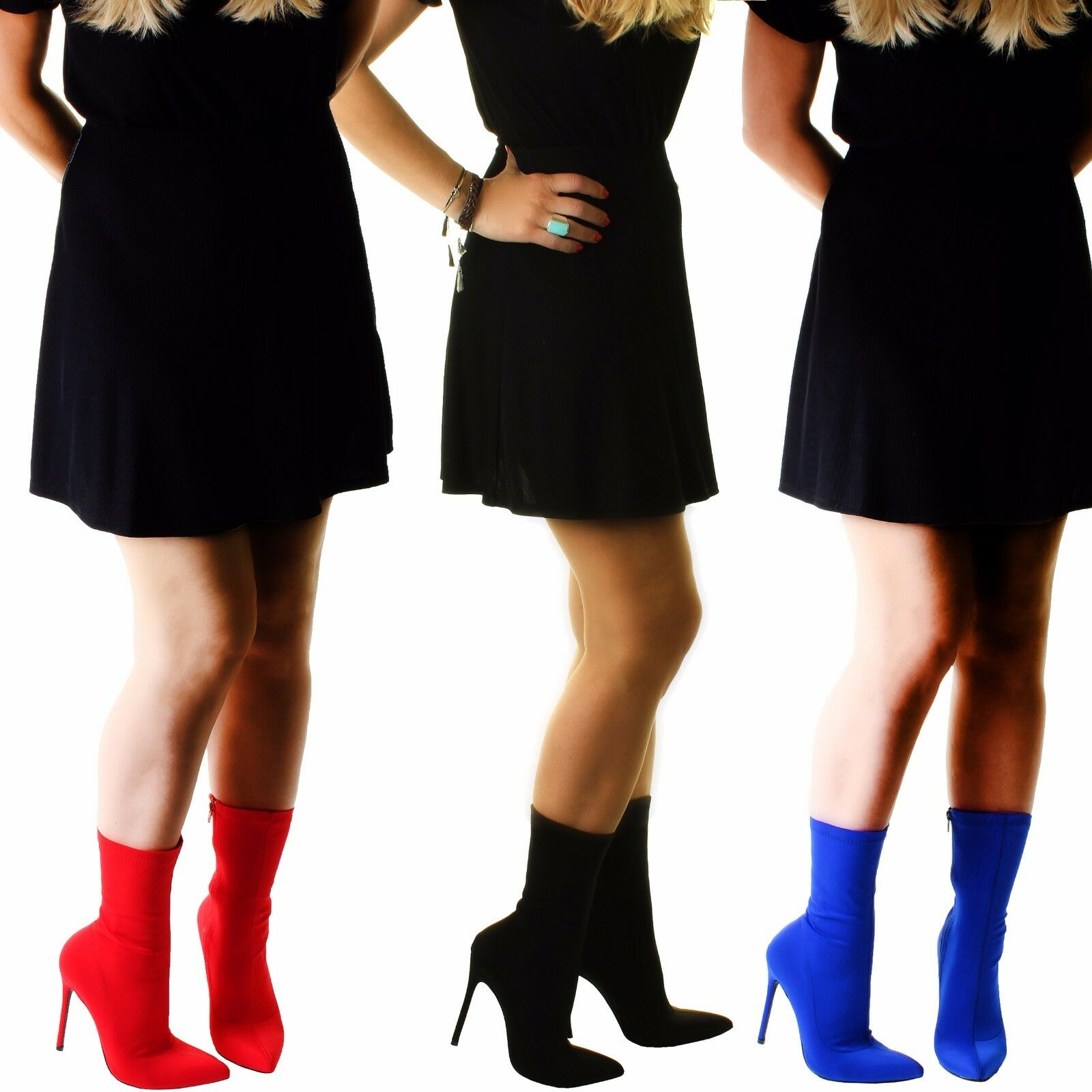 Ladies Black Red Blue Wide Slim LYCRA STRETCH Ankle Mid Calf High Stiletto Boots
