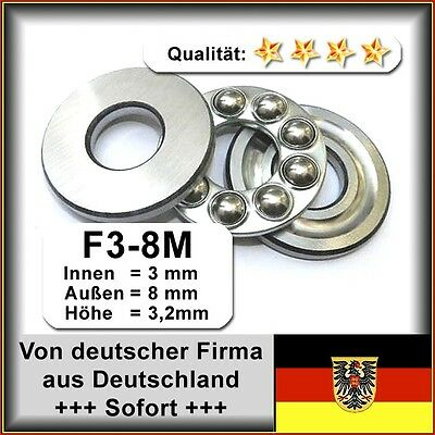 6 Axiallager 3 x 8 x 3,5 mm Drucklager F3-8M Axial Kugellager
