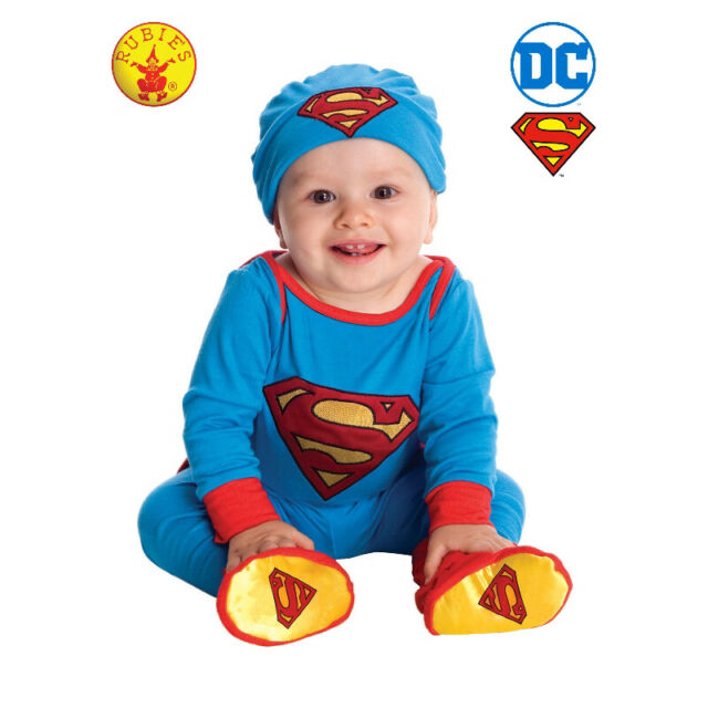 SUPERMAN LICENSED BABIES JUMPSUIT COSTUME SIZE 12-24 MONTHS BY RUBIE'S **NEW**