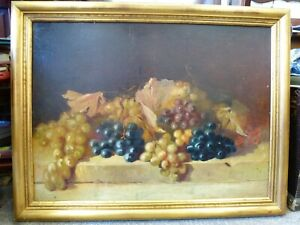 Vintage Victorian Antique Large genuine Still life old oil painting Fruit framed