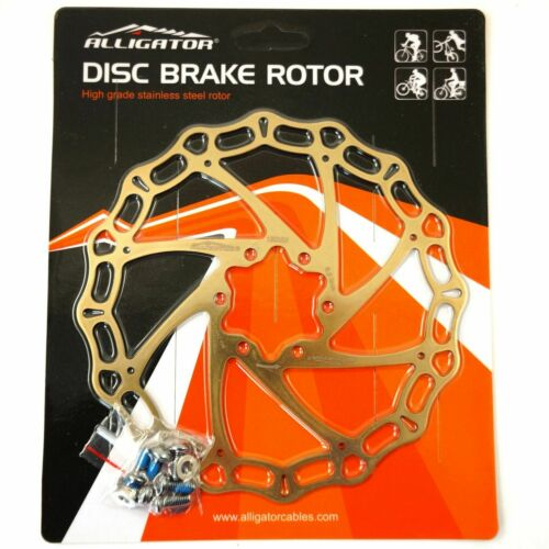 Alligator Crown Disc Brake Rotor 160mm//180mm//203mm MTB Road Bike Ti-Gold Color