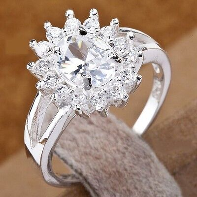 Women's 925 Sterling Silver Crystal Rhinestone Flower Wedding Engagement Ring