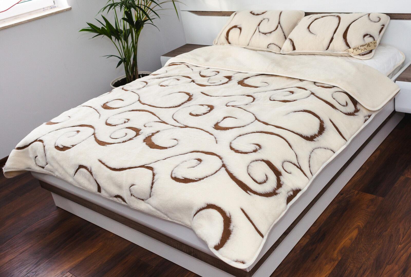 LAINE MÉRINOS CACHEMIRE COUgreenURE - Jeté de lit naturelle toutes sizes