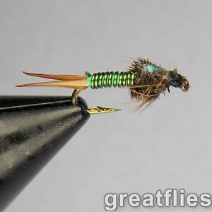 Black Copper John Nymphs Twelve NEW Fly Fishing Flies Choose Size and Quantity
