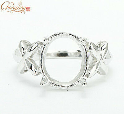 8x10mm Oval Cut Ring Setting 925 Sterling Silver Wholesale Free Shipping