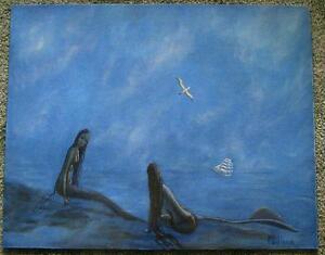 MERMAID-BEACH-SEASHORE-FOLK-ART-NAUTICAL-CLIPPER-SHIP-SEAGULLS-MIST-OIL-PAINTING