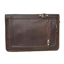 Prime Hide Leather Zip Round Folio A4 Document Holder / Folder - Brown 942