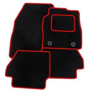 Peugeot-107-2005-adelante-Tailored-Coche-Tapetes-Alfombra-Negra-con-borde-rojo