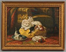 Sm Antique DANIEL MERLIN Mother Cat & Kittens Interior Genre French Oil Painting