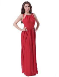 Langes-Chiffon-Fashion-Cocktailkleid-Abendkleid-Ballkleid-Rot-Tailliert-L-40