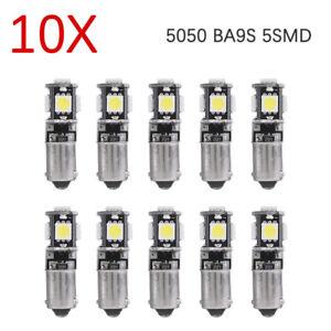 10Pcs-5050-5SMD-BA9S-T4W-H6W-12V-LED-luz-de-domo-Lateral-de-Coche-CANBUS-Error-Blanco-Bombilla