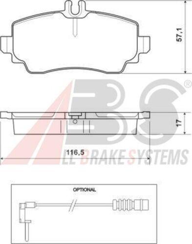 A.B.S Bremsbelagsatz Scheibenbremse 37078 für MERCEDES KLASSE W168 vorne 140