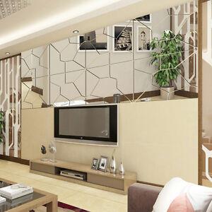 7Pcs Moire Pattern Mirror Decal Art Mural Wall Sticker Home Decor ...