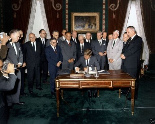 President John F Kennedy signs Nuclear Test Ban Treaty 1963 8x10 Photo