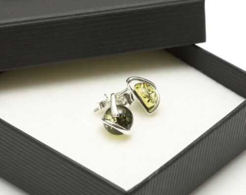 NATURAL BALTIC AMBER STERLING SILVER 925 Gamestone Green Earrings Stud Certified