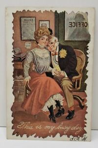 Romantic-Couple-Victorian-Comic-This-is-my-Busy-Day-Early-Undivided-Postcard-B17