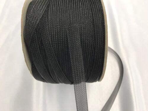 125Yards-1//2 Inch Black Crinoline Horsehair Braid Trim-wedding-Prom-decorations.