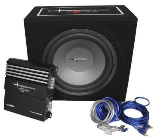 Excalibur X3 Basspaket Subwoofer 2 Kanal Endstufe und Kabelset 1000 Watt