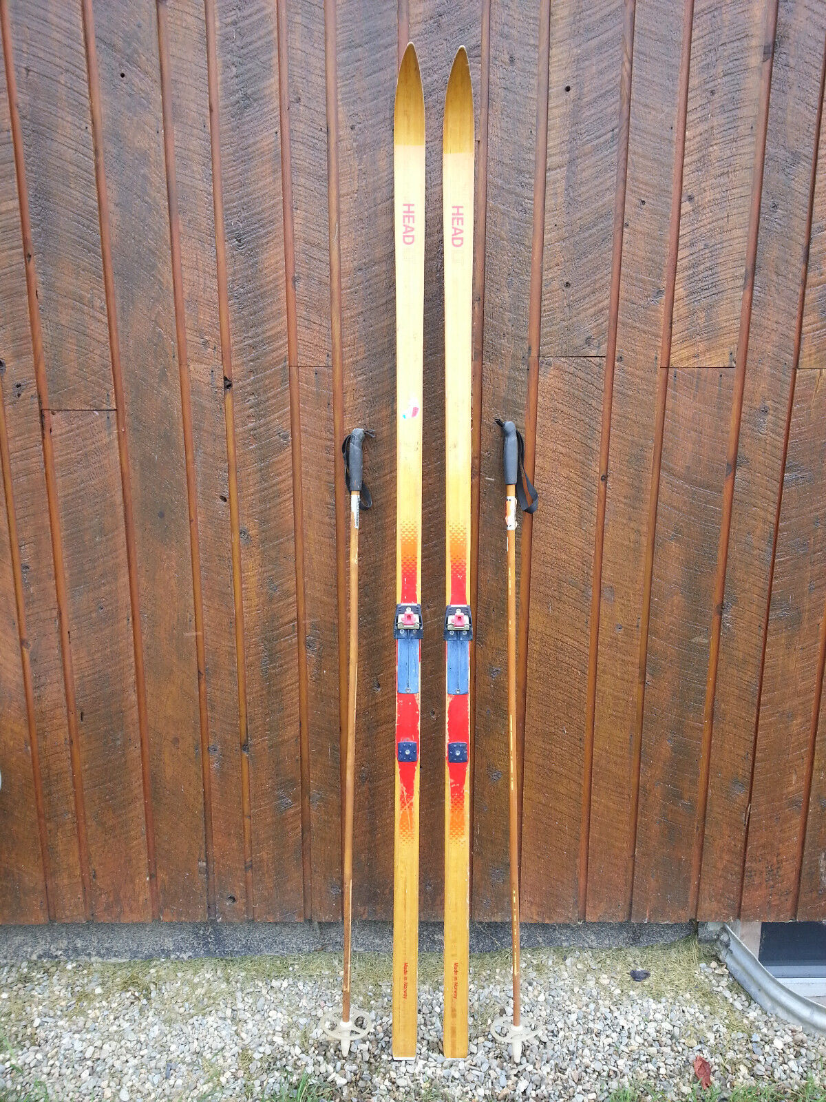 VINTAGE Wooden 82  Skis Has  BLOND Finish Signed  HEAD + Bamboo Poles  global distribution