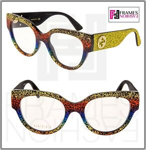 460cfe5e476 Image is loading GUCCI-0103-Yellow-Rainbow-Glitter-RX-Eyeglasses-Optical-