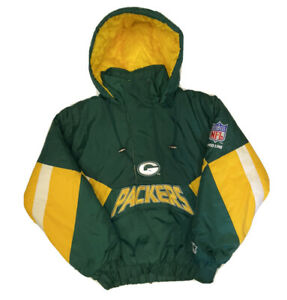 Vtg-Starter-Green-Bay-Packers-Men-s-1-2-Zip-Pullover-Jacket-Size-Small