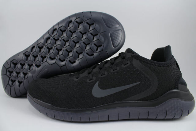 new style 4adba 55d41 NIKE FREE RUN 2018 BLACK ANTHRACITE DARK GRAY RUNNING RN FLEX KNIT US WOMEN  SIZE