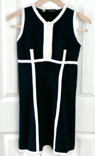 DSQUARED2 navy blue white trim zipper front knit z
