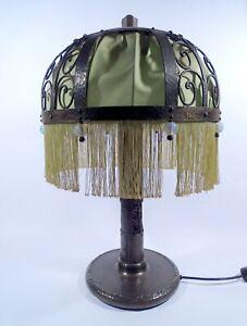Jugendstil Lampe Tischleuchte Schmiedeeisen Hammerschlag H 66 cm Darmstadt Wien